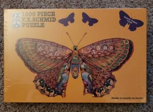 FX Schmid Whimsical Butterfly Shaped Puzzle 1000 Piece 1995 NOS SEALED 39.5x22.5