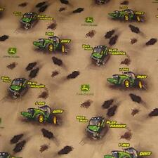 JOHN DEERE TRACTOR AND DIRT, BROWN COTTON FABRIC BTY