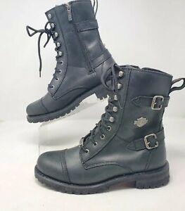 "Harley Davidson Balsa 7"" Black Leather Moto Combat Motorcycle Womens 11 Boots"