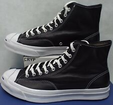 New Mens 11 Converse Jack Purcell Signature Hi Black White Leather 153586C $140