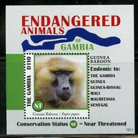 THE GAMBIA ENDANGERED ANIMALS OF AFRICA GUINEA BABOON  S/SHEET II  MINT NH