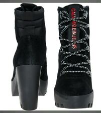 Calvin Klein Womens Black Suede Heeled Ankle Boots SIZE UK 8