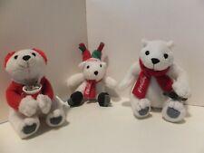 Lot of 3 Mcdonalds 2004 Holiday Coca Cola Polar Bear Plush Toy