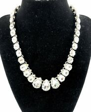 Charter Club Crystal Collar Necklace Silver-tone