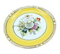 "VTG Noritake Hand Painted 5½"" Floral Lemon Plate Tidbit Tray Gold Trim w Handle"