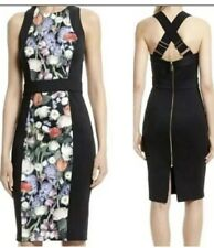 TED BAKER WOMENS BLACK FLORAL KENSINGTON BODYCON DRESS SIZE 12 (3) BNWT RRP £170