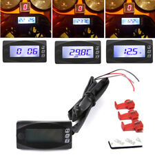 Universal Motorcycle Digital Temperature Gauge Thermometer Voltmeter Time Watch