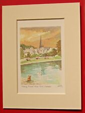CALLANDER AND RIVER TEITH SCOTLAND CHARMING MOUNTED WATER COLOUR PRINT 8X6 GRAY