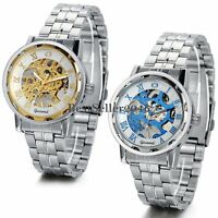 Skeleton Dial Stainless Steel Strap Hand-Wind Mechanical Men's Wrist Watch