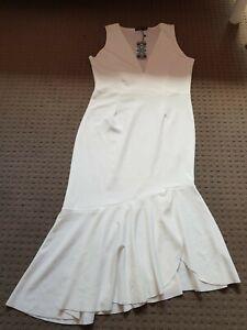boohoo white plunge front frill hem midi dress Size 14