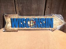 """Wisconsin State Flag This Way To Arrow Sign Directional Novelty Metal 17"""" x 5"""""""