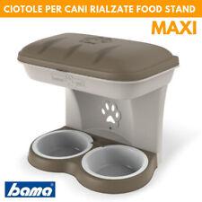 Ciotola Maxi doppia per cani tortora fissabile a parete muro Food Stand Dog Bama