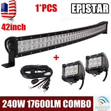 42''inch 240W Curved LED Work Light Bar Offroad Boat Car+2X 18W Pods+Wiring Kit