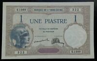 Banknote. Indochine. 1 Piastre 1921-26 Pick 48a Sig 6
