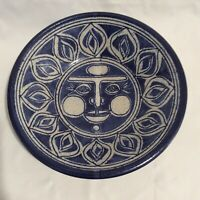 Vintage Studio Art Pottery Stoneware Bowl Blue Gray Sun with Face Signed 1977