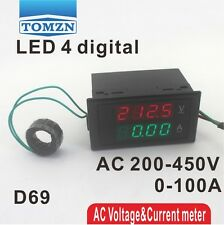 Dual LED 4 digital D69 display Voltage and current meter AC 200-450V 0.00-100.0A