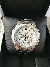 SEIKO CHRONOGRAPH GENTS 100M WITH BOX AND PAPERS AND SPARE LINKS