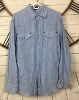 Artful Dodger Pearl Snap Shirt 100% Linen Long Sleeve Heather Blue Chambray Sz L