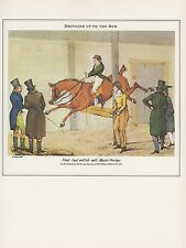 """1974 Vintage HORSE JUMPING """"BRINGING UP TO THE BAR"""" COLOR Art Print Lithograph"""