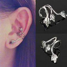 1pce Women Retro Leaf Clip On Earring Ear Cuff Retro Tibetan Silver Jewelry