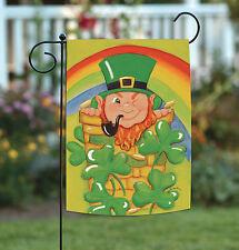 New Toland - Shamrock Basket - St Patrick Leprechaun Rainbow Clover Garden Flag