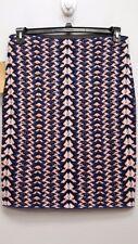 RACHEL ROY Size 2X Mosaic Striped Stretch Knit Pencil Skirt Blue Pink Black