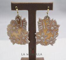 Orecchini in argento con cameo con fiori Silver earrings with cammeo flowers