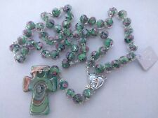 Catholic Green pink Rosary Murano Glass Rosaries From Medjugorje + GIFT BAG