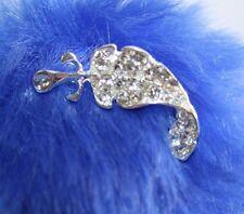Silver Tone Diamonte Leaf Brooch Hijab Pins Lapel Tiny Turned Leaf Elegant Gift