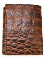 Brown Croc Print Croco Credit Card ID Leather Mens Trifold Thin Wallet
