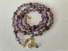 "Joan Rivers  Fire Polished Purple AB Glass Bead Necklace  30"" Long"