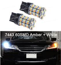 60SMD 7443 7444NA 991 992 White Yellow LED Switchback Turn Signal DRL Light Bulb