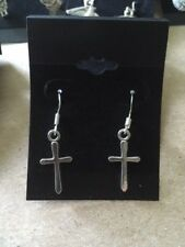 Cross Earrings, Simple Cross, Religious, Sterling Silver hooks