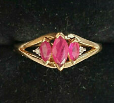 9ct Yellow Gold Natural Ruby & Diamonds QVC Ring Size P 1/2 A Beauty No Reserve