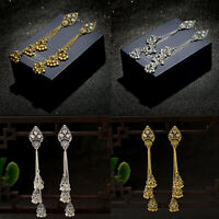 Gold Silver Plated Gem Long Tassel Dangle Indian Jhumka Ethnic Stud Earrings