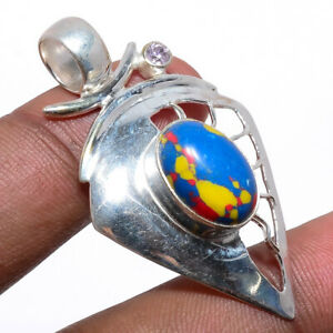 "Mosaic Balloon Jasper & Kunzite Quartz 925 Sterling Silver Pendant 1.77"" W714"