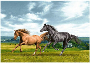 """Running Horse Gobelin Tapestry, Woven in Russia 28x20"""""""