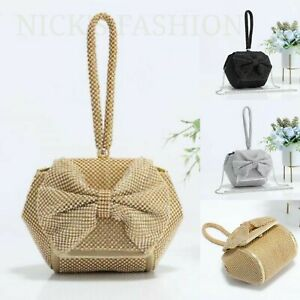 New Women's Stylish Hexagon Shaped Diamante Evening Bag With Bow And Wrist Strap