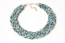 Beaded & Fabric Ladies Wide Braided Turquoise Blue/Gold Collar Necklace (S573)