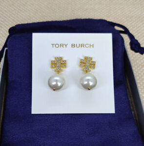 NWT Tory Burch Crystal Faux Pearl Crystal Earrings in Gold w/ card and pouch