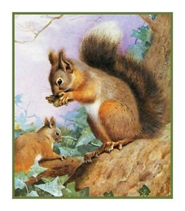 Naturalist Thorburn's Animals Tree Squirrels Counted Cross Stitch Chart Pattern