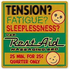 Vintage Retro Rest Aid Massaging Bed Tension Metal Sign Unique Wall Decor RPC046