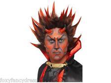 Demon Devil Punky Wig Men's Red Black Spiky Halloween Horror Fancy Dress