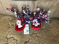 """PATRIOTIC ELF 7/"""" Forth of July Flag Poseable Decoration Soft 3D Card Annalee"""