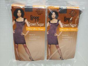2-L'eggs Brown Sugar Ultra Ultra Sheer Pantyhose MED/TALL -OFF BLACK, 50273