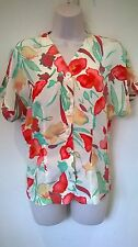 Jacques Vert floral hip length blouse with short sleeves Size UK 10