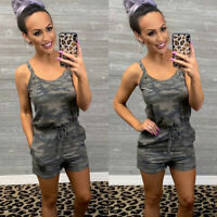 Women Clubwear Camo Playsuit Bodycon Jumpsuit Romper Trousers Shorts Sleeeveless