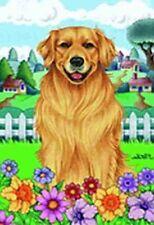 Outdoor Garden Flag Golden Retriever Dog Breed Spring Colors Small Flag made Usa