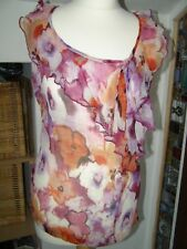 Per Una size 12 100% silk floral summer top frilled neckline smart party