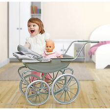 Doll Stroller Carriage English Style Pram Baby Buggy Toy Victorian Carrier Girls